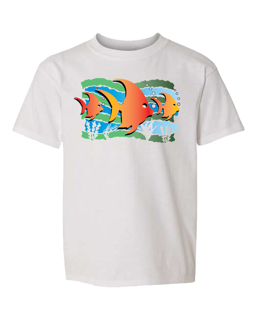 Fish Under The Sea White Toddler Tee