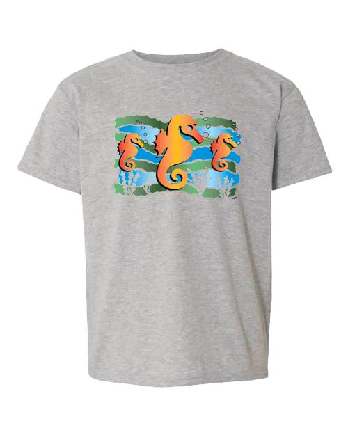 Seahorse Under The Sea Grey Toddler Tee