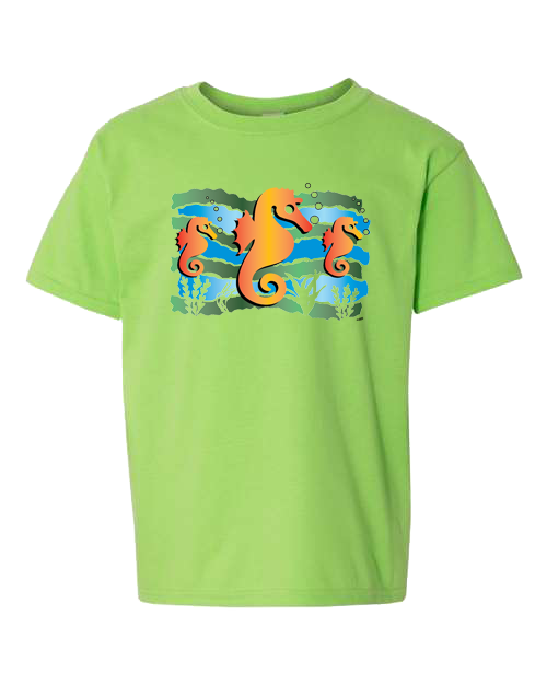 Seahorse Under The Sea Lime Toddler Tee