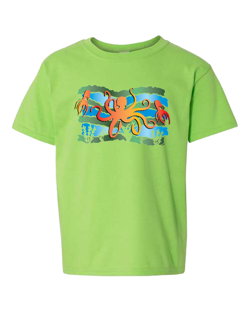 Squid Octopus Under The Sea Lime Toddler Tee