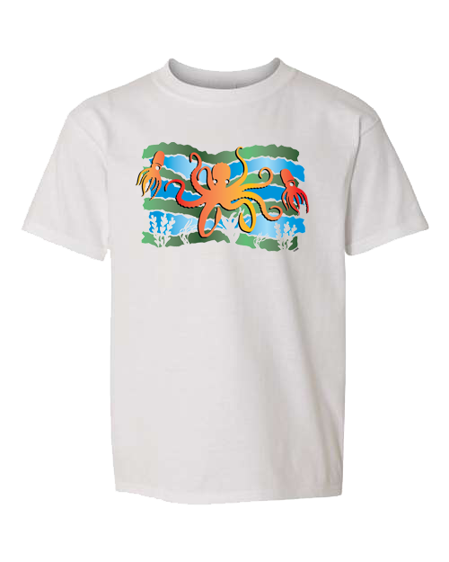 Squid Octopus Under The Sea White Toddler Tee